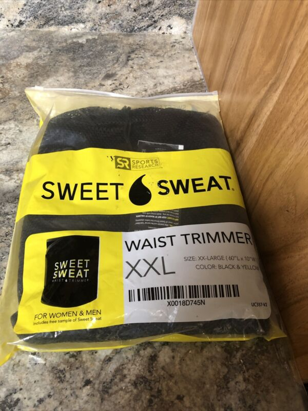 New Sports Research Sweet Sweat Waist Trimmer Black Waist Trainer Size XXL