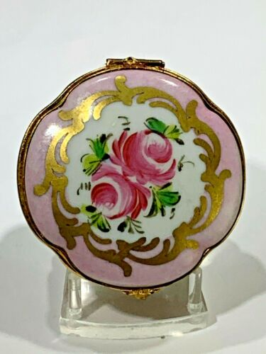 Antique Limoges France Hand Painted Elegant Porcelain Floral Trinket Box