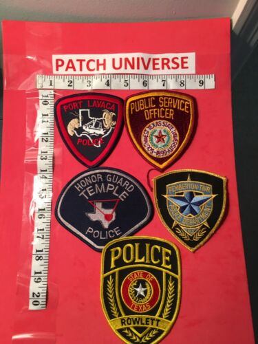 LOT OF 5  DIFFERENT TEXAS POLICE SHOULDER PATCHES  K054