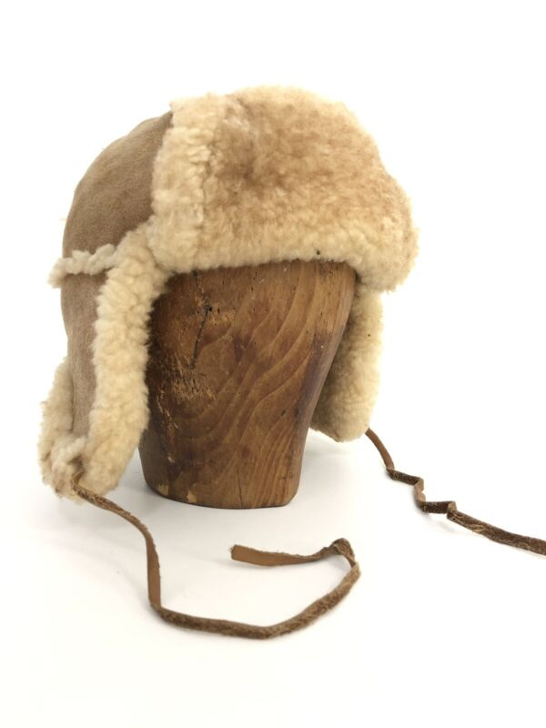 Aviator Trapper Hat XS Adult M L Childs Shearling Leather Tan Interior Fleece