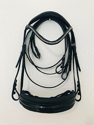 BLACK PATENT LEATHER SNAFFLE BRIDLE CRANK CRYSTAL CUTBACK COMFORT FULL & COB Leather Comfort Bridle