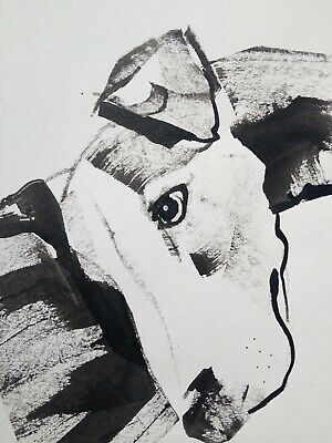 Original signed Ink sketch painting of a Whippet Pup Resting