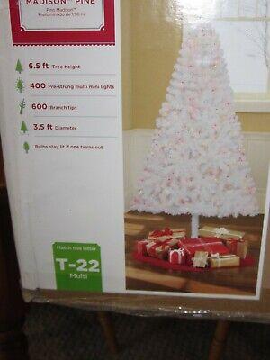 Artificial Christmas Tree White Madison Pine Pre Lit 6.5 feet
