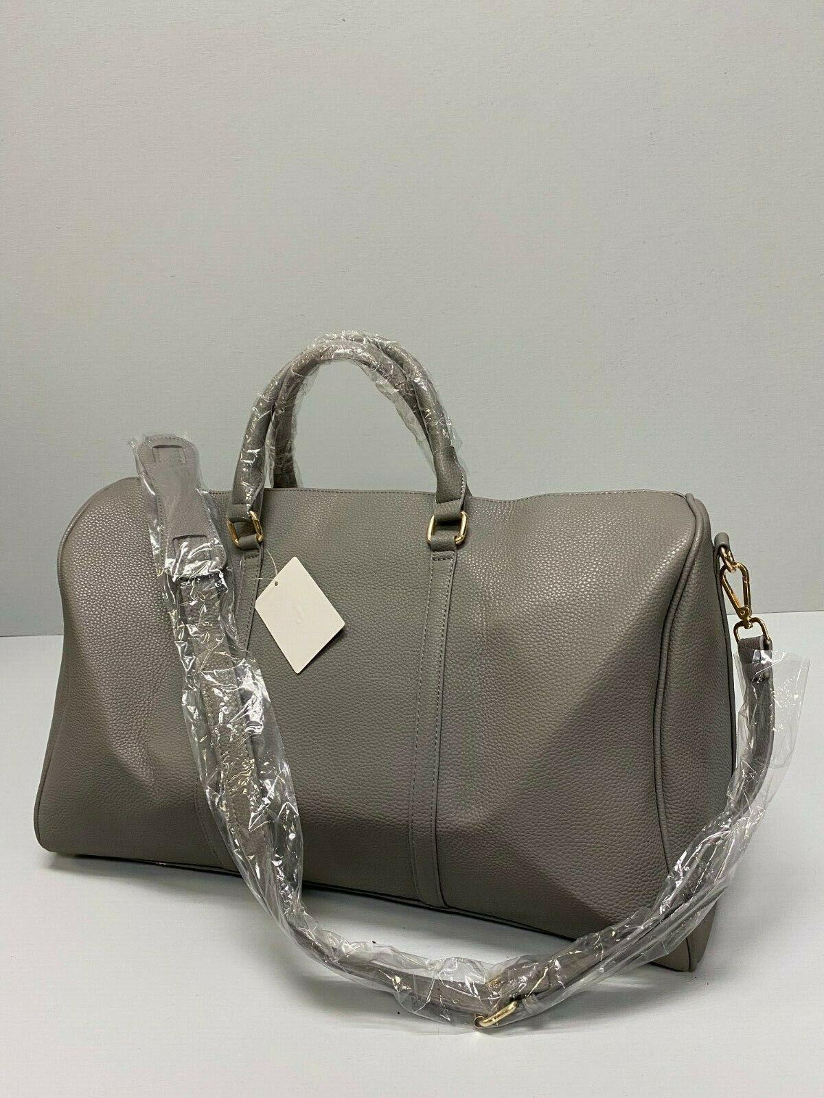 NEW Grey Faux Leather Duffel Weekender Travel Bag HD3006GY C