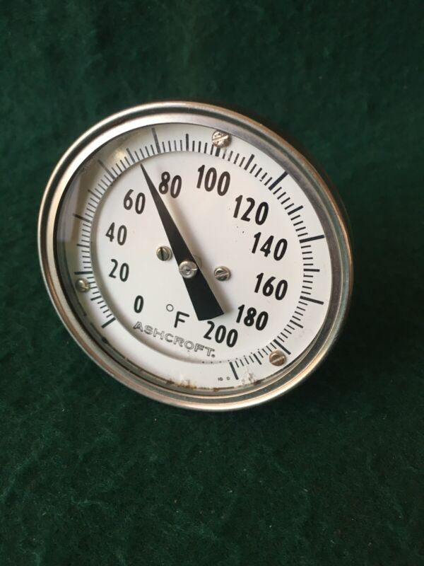 """Thermometer Ashcroft 3"""" Face, 0 To 200 Degrees F Range, 4"""" stem"""