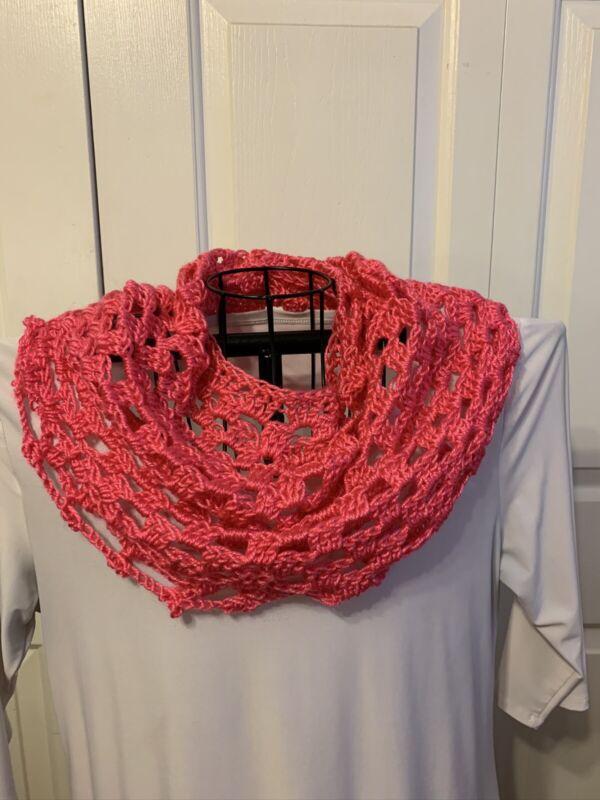 Handmade Crochet Infinity Cowl Scarf In Pink