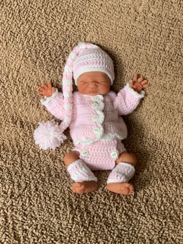 Handmade Crochet Outfit For 10-11 Inch Ooak Preemie Reborn Silicone Baby Doll