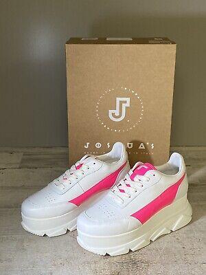 Joshua Sanders Women's Zenith Platform Wedge Sneakers White / Fuxia Size 7.5 New
