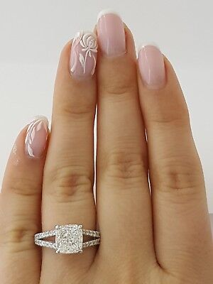 2.59 ct Platinum Cushion Cut Diamond Split Shank Engagement Ring GIA F / VVS1 1