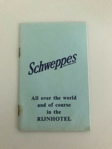 Vtg notes 1970 Rijnhotel Schweppes advertisement Netherlands