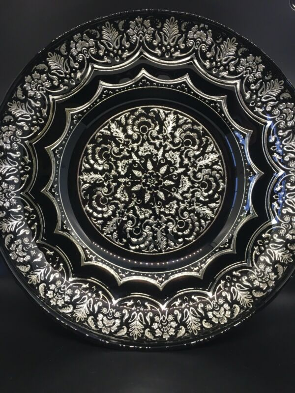 """Decorative Large Black Glass Bowl With Silver Metallic Back Silver Details 13"""""""