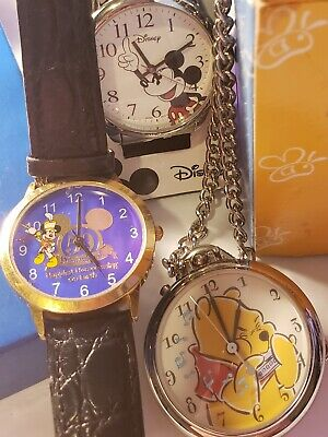 """Mickey DISNEY 50TH """"HAPPIEST HOMECOMING ON EARTH"""" 2005 + Pooh Pocket Watch LOT"""