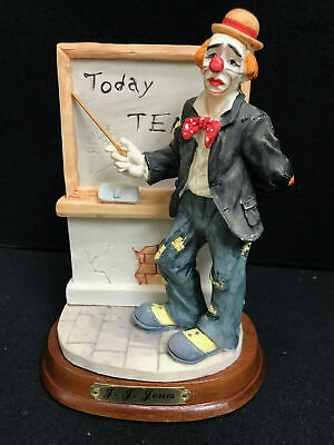 J.J. Jones Teacher Clown Figurine On Wooden Display Stand for sale  Florence