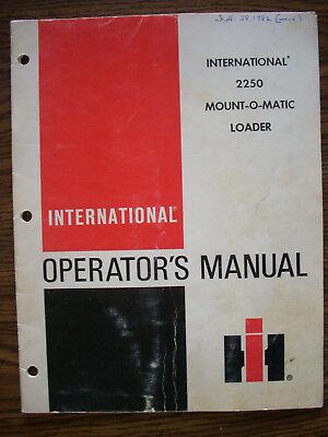 Ih Farmall Mccormick International 2250 Loader Owners Manual