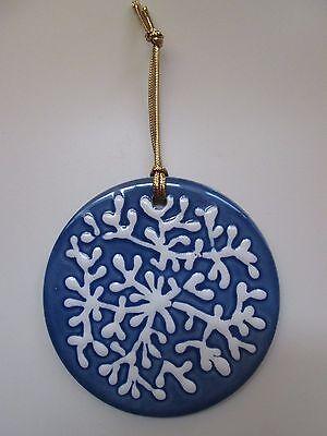 H&R Johnson Tile Ornament ~ Made in England ~ Blue Ceramic Tile w/ Hanger