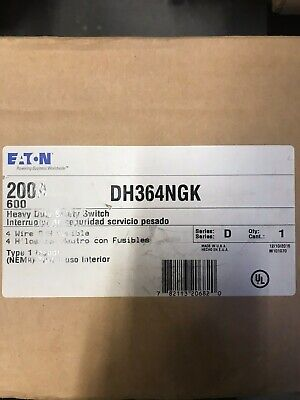 New Cutler Hammer Dh364ngk 200 Amp 600v 3p Fusible Safety Switch Disconnect