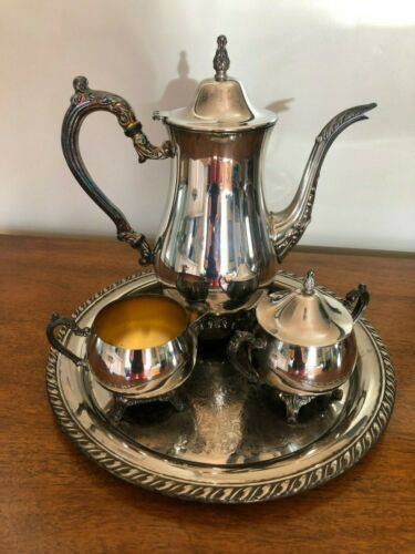 ONEIDA Silver Plate DU MAURIER 3-pc COFFEE/TEA SERVICE with TRAY