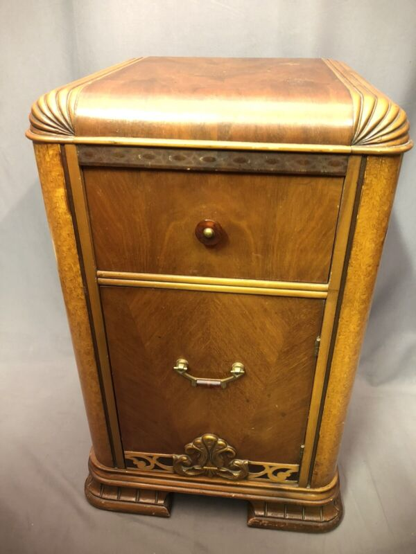 Art Deco Marquetry Bakelite Waterfall Nightstand Vntg Record Cabinet Side Table