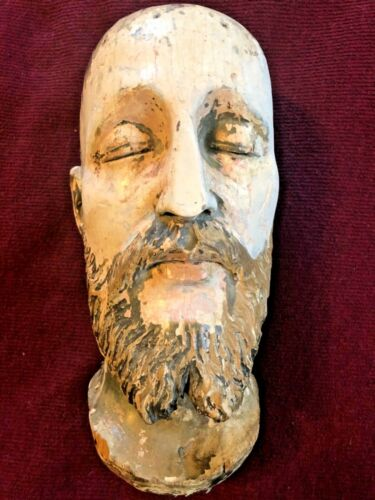 UNUSUAL CARVED HEAD OF SAINT BALD CLOSED EYES 18TH CENTURY POLYCHROME