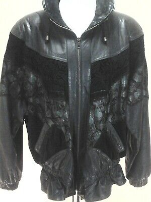 Vintage 80s Leather/Suede Jacket WILSONS Black Crochet and Print Women's M RARE