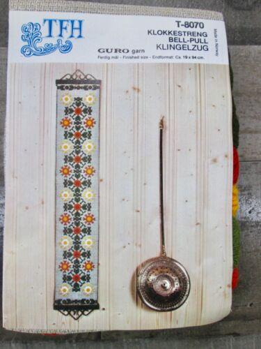 Vintage TFH Norway Norwegian Needlepoint Bell Pull Flower Orange Green Guro MCM