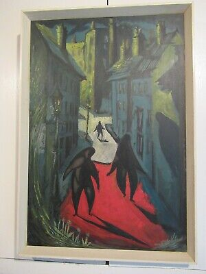 Original Abstract 1950s Painting by Janet Lobban