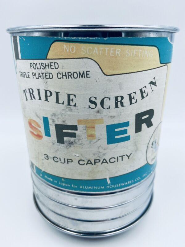 Vintage Triple Screen Chrome Plated 3 cup Aluminum housewares flour sifter Japan