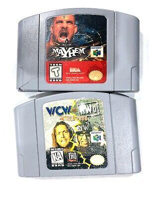 WCW Vs NWO World Tour & wcw Mayhem NINTENDO 64 N64 Game Lot Tested! Working