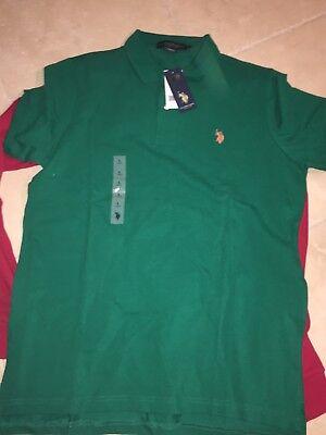 - U.S. Polo Assn. Men's Solid Green Pique Polo Shirt with collar Size LARGE
