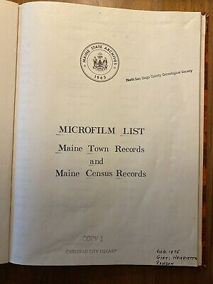 Maine Town and Census Records - Microfilm List, 1965
