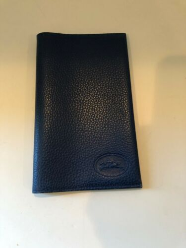 NEW Longchamp Calendar -Address Book Cover Pebbled Leather Denim Blue Refillable