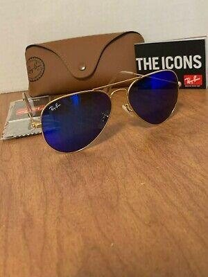Ray-Ban Sunglasses Aviator Gold Frame Blue Mirror Flash Lens RB3025 112/17 (Cheap Ray Bans For Men)
