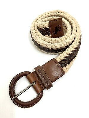 ABERCROMBIE & FITCH Men's Braided Leather and Cotton Belt Brown Khaki Sz L/XL38""