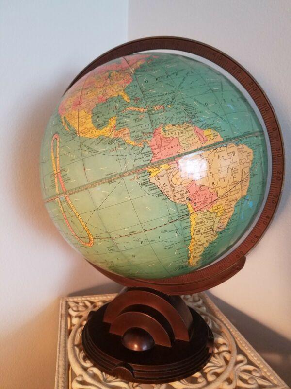 "Vintage 1930s Replogle Standard Globe Art Deco Style Base 12"""
