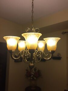 Chandelier with matching flush mount light