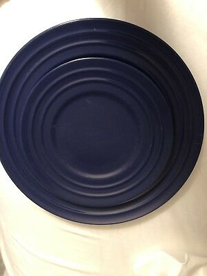 "Used, 6 RACHAEL RAY Double Ridge 11"" Dinner Plates Dishes Blue Stoneware Pottery for sale  Providence"