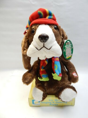 Basset Hound Christmas Dog Plush Toy Animated Singing Dancing Lights Up VIDEO