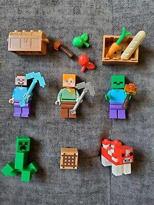 Lot of 5 Lego Mindcraft Minifigures Steve Alex cow Zombie Weapons Accessories