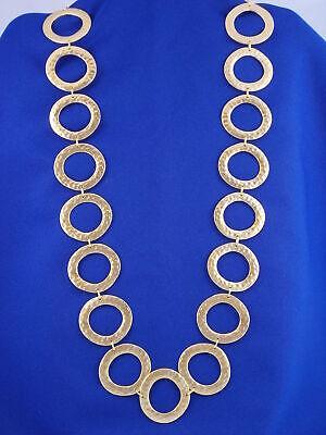 "Ralph Lauren Goldtone Hammered Metals Large Link 35"" Necklace"
