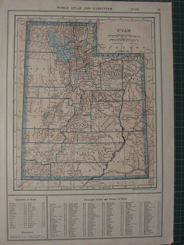 1926 MAP ~ UTAH STATE COUNTIES PRINCIPAL CITIES TOWNS RESERVATIONS NAVAJO INDIAN