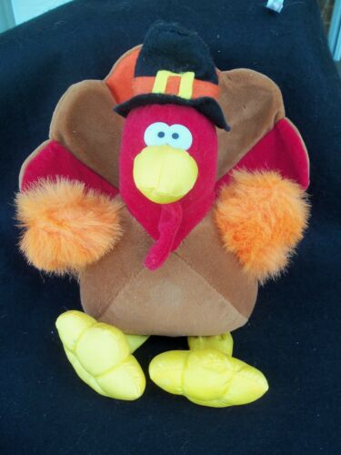 Thanksgiving Turkey Stuffed Plush Animal!  COLORFUL!  CENTERPIECE!  GIBSON 1994