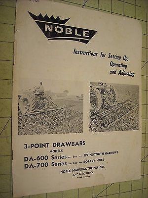 Noble 3 Point Drawbars Da-600 Da-700 Manual Springtooth Harrow Rotary Hoe