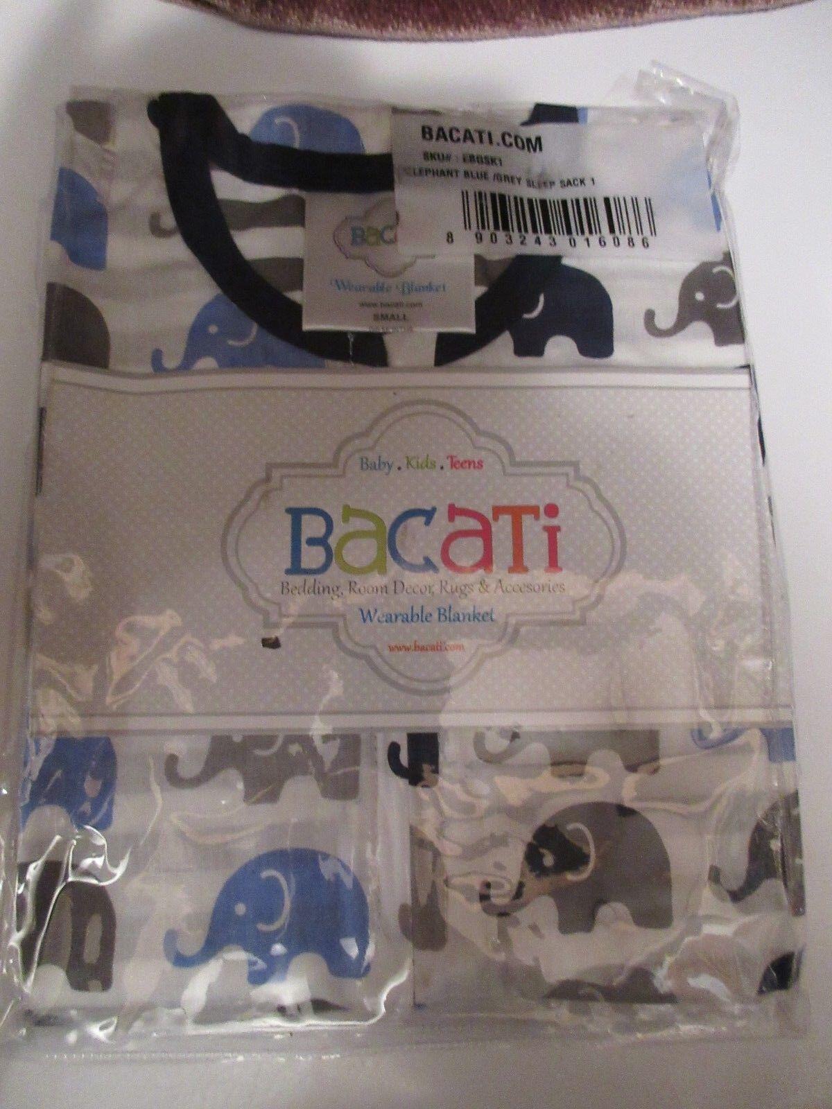 Bacati Elephants Wearable Blanket, Blue / Grey Sleep Sack Sm