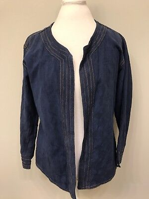 Ganesh Himal Women's LARGE Blue Blazer Jacket Fair Trade Textured India Cotton for sale  Shipping to India