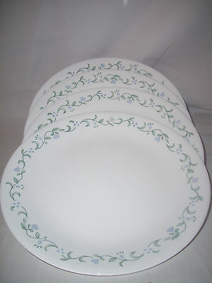 """4 Corelle Corning Ware  Country Cottage  Dinner Plates 10 1/4 """" Blue Hearts"""