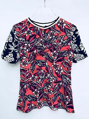 NWT ZARA FLORAL PRINT TOP BLOUSE COLOR BLOCK SHORT SLEEVES SIZE M $79