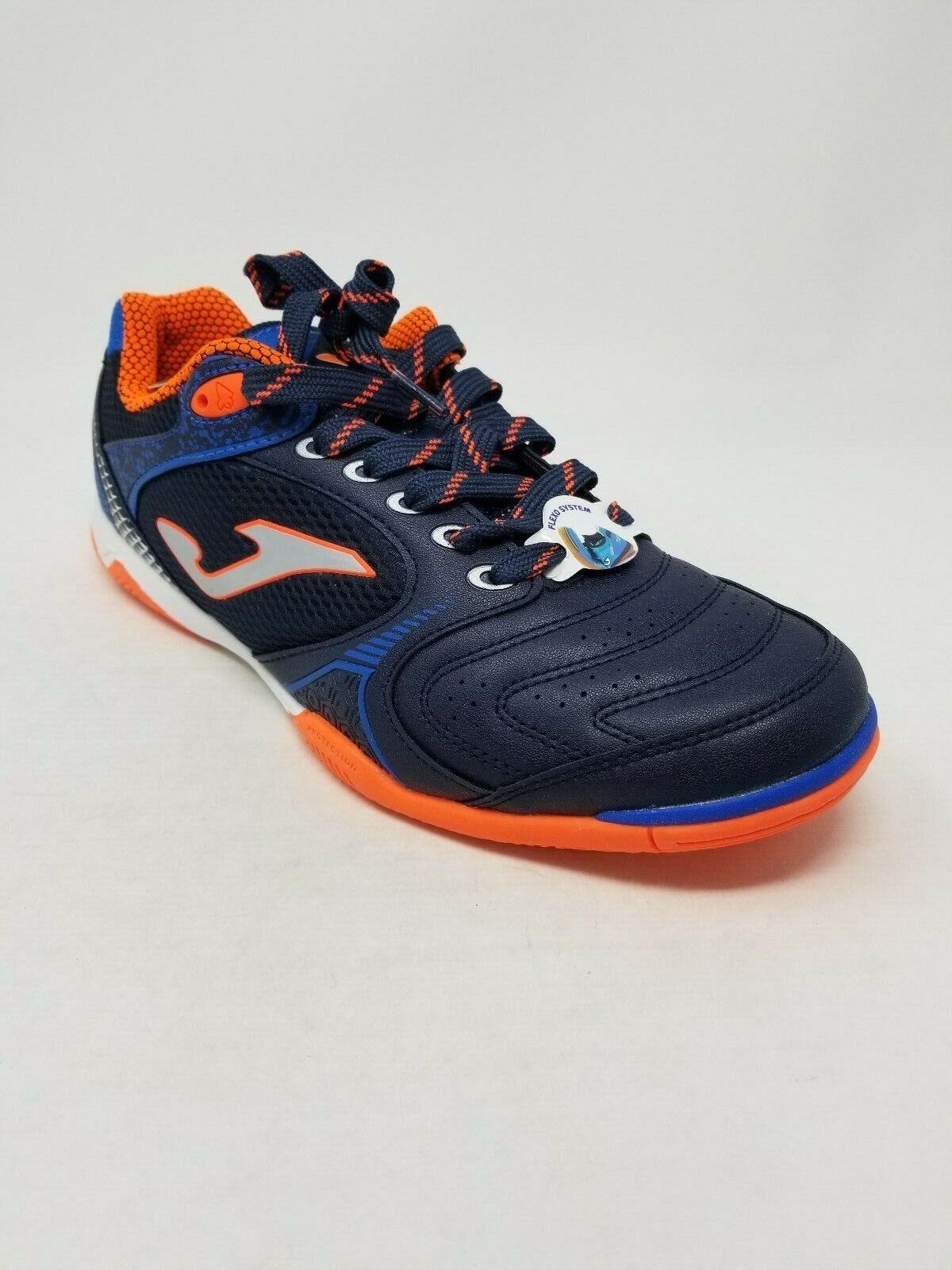 A114 Joma Men's Dribling Indoor Soccer Shoe, Blue/Orange, Si