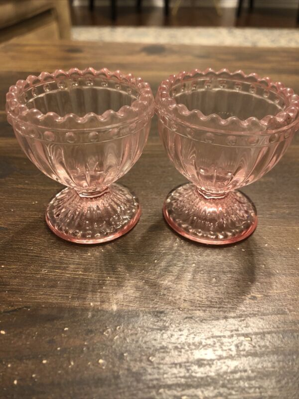 2 Glass Easter Egg Cup Holders Pink