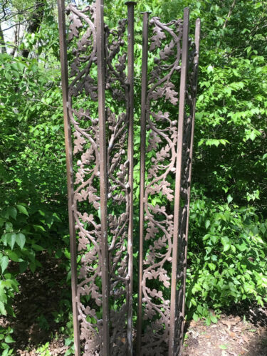 Antique Pair Iron Porch Post Oak Pattern Architechural Salvage