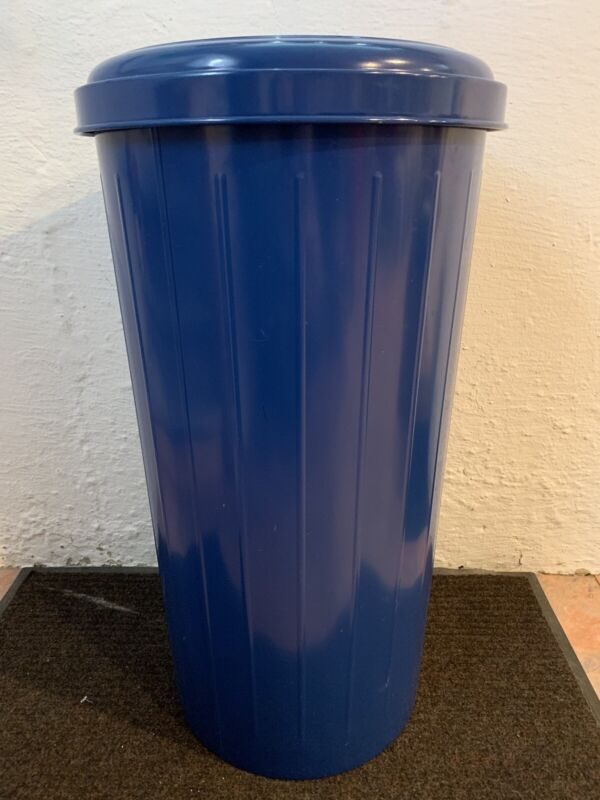 Round Steel Blue Recycling Container & Lid, Blue, 20 Gallon.